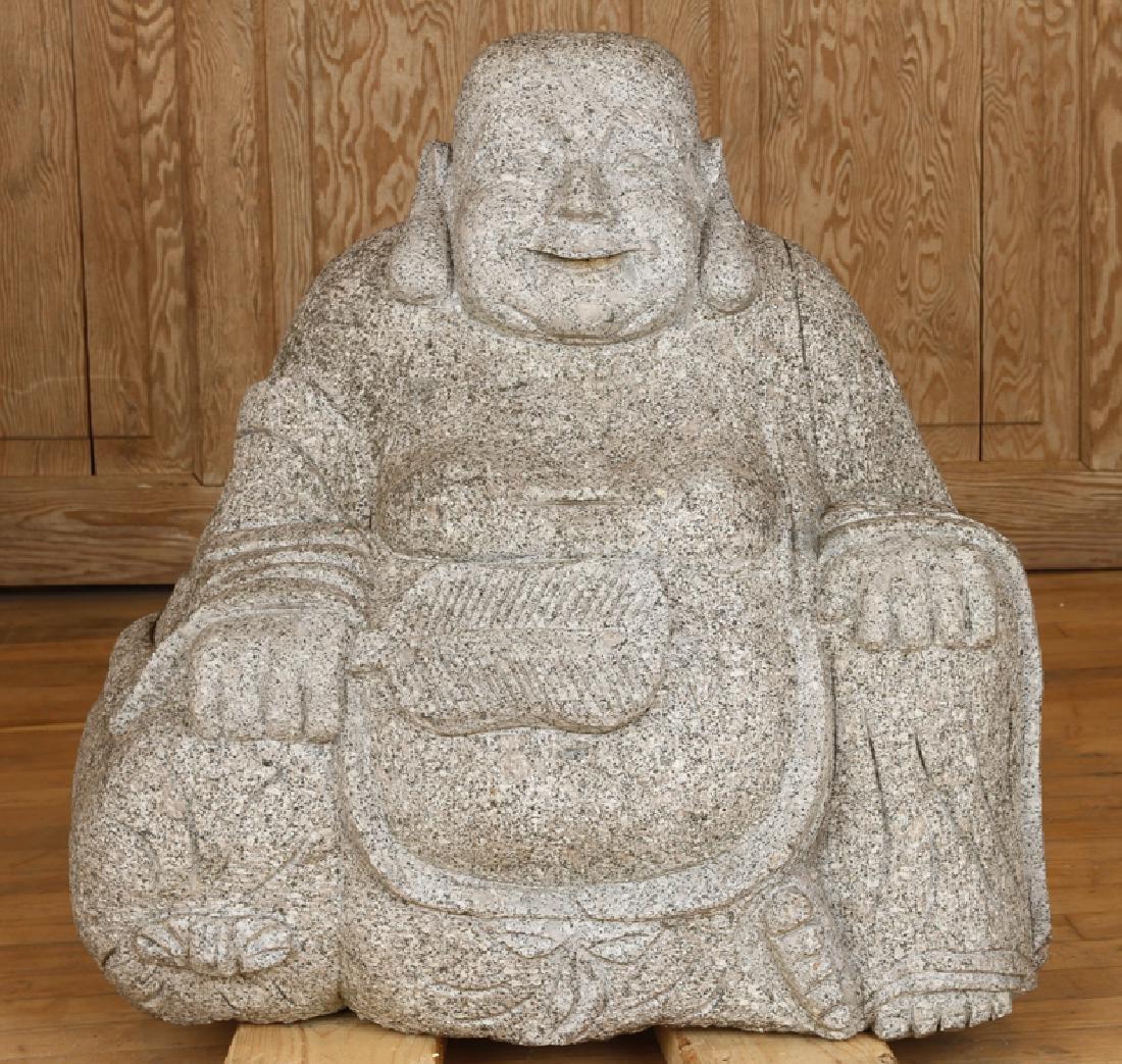 LARGE GRANITE SITTING BUDDHA GARDEN STATUE