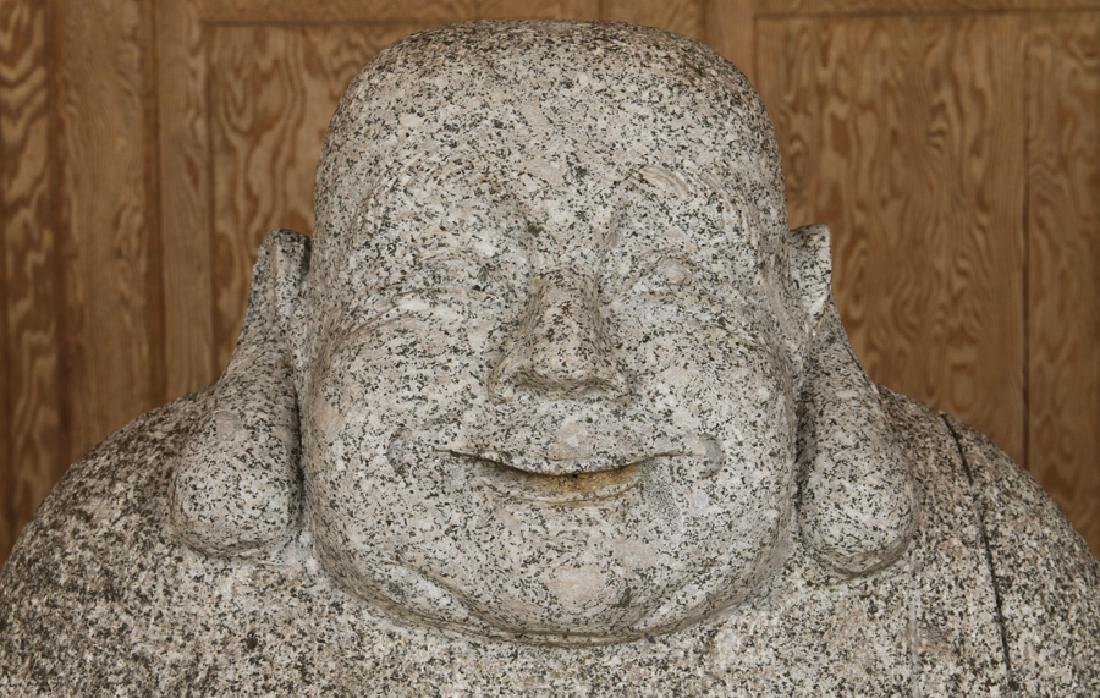 LARGE GRANITE SITTING BUDDHA GARDEN STATUE - 2