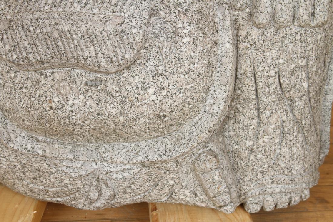 LARGE GRANITE SITTING BUDDHA GARDEN STATUE - 4