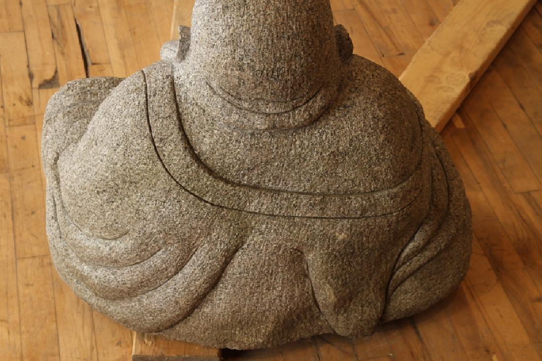 LARGE GRANITE SITTING BUDDHA GARDEN STATUE - 6