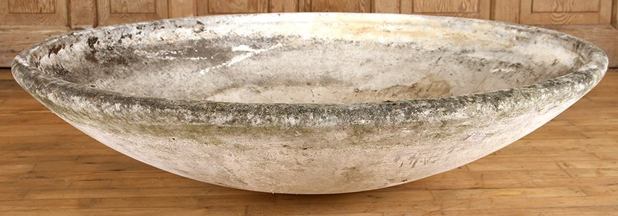 DISK FORM CAST STONE PLANTER BY WILLY GUHL C.1970