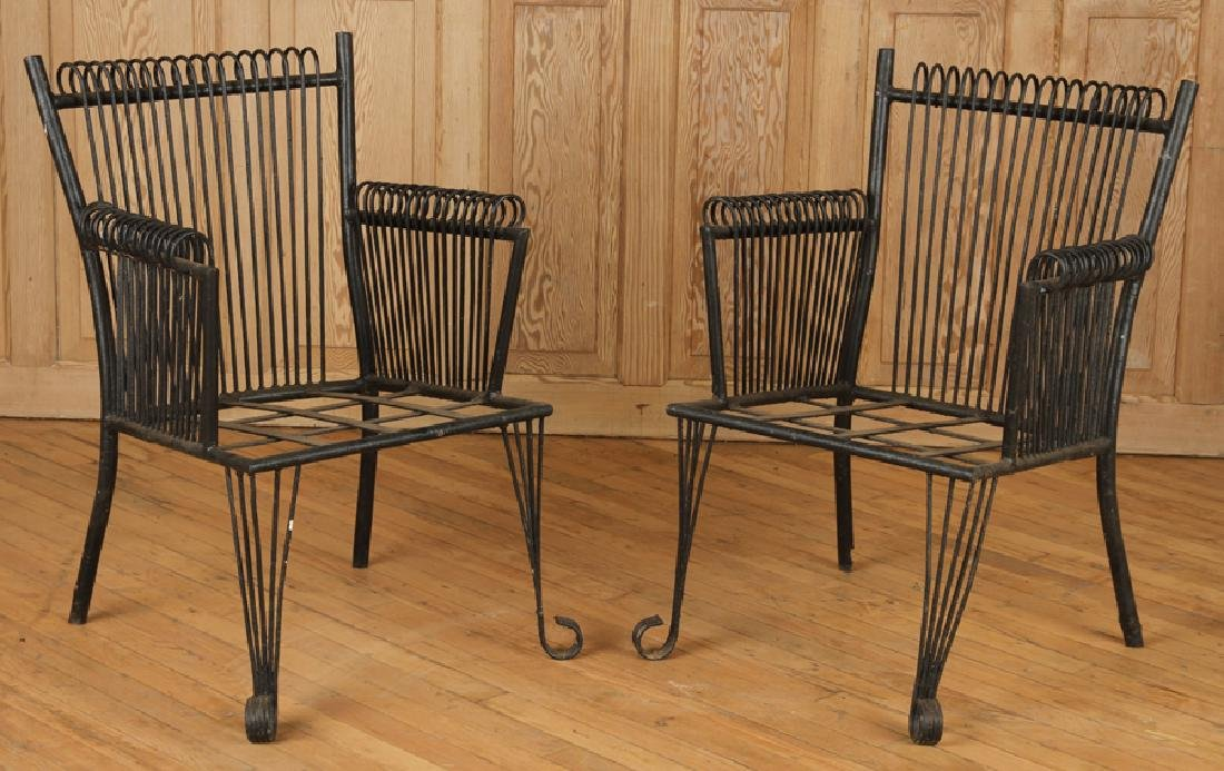 PAIR ART DECO STYLE WROUGHT IRON ARM CHAIRS C1940