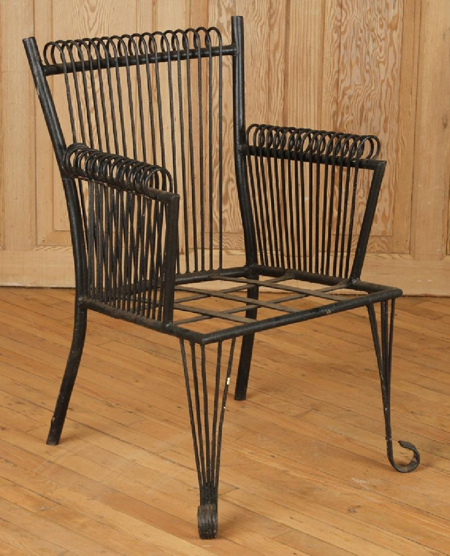 PAIR ART DECO STYLE WROUGHT IRON ARM CHAIRS C1940 - 2