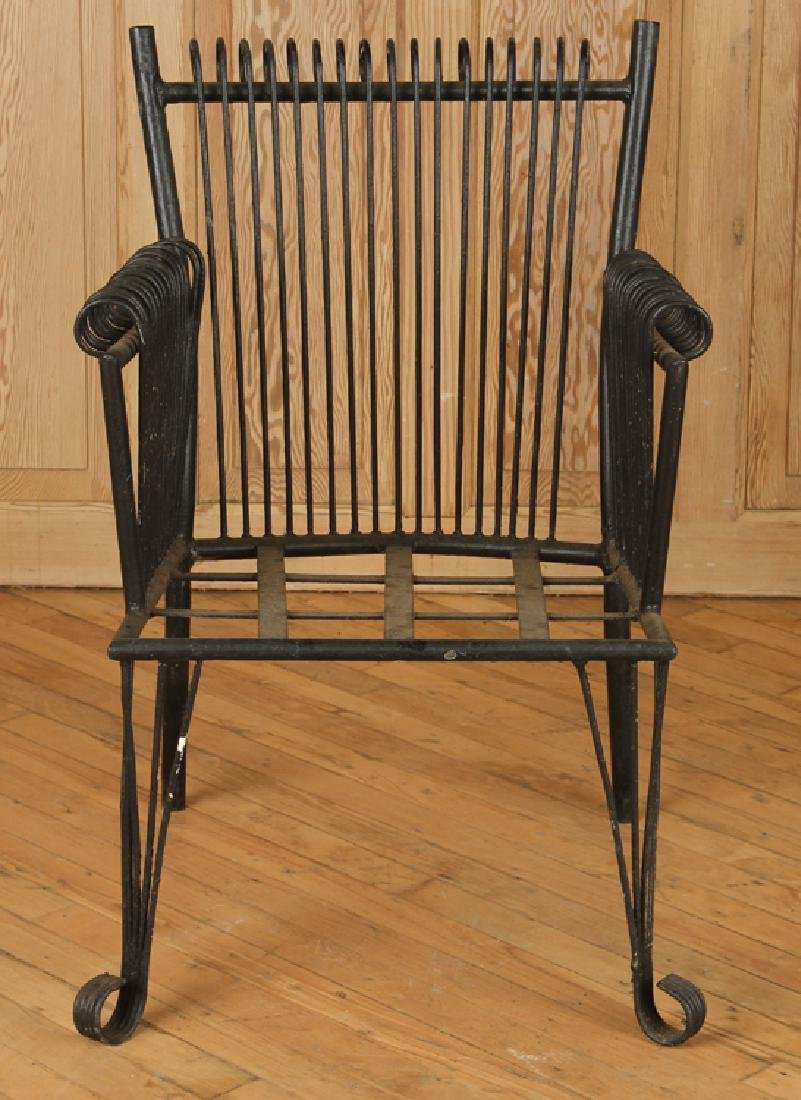 PAIR ART DECO STYLE WROUGHT IRON ARM CHAIRS C1940 - 3