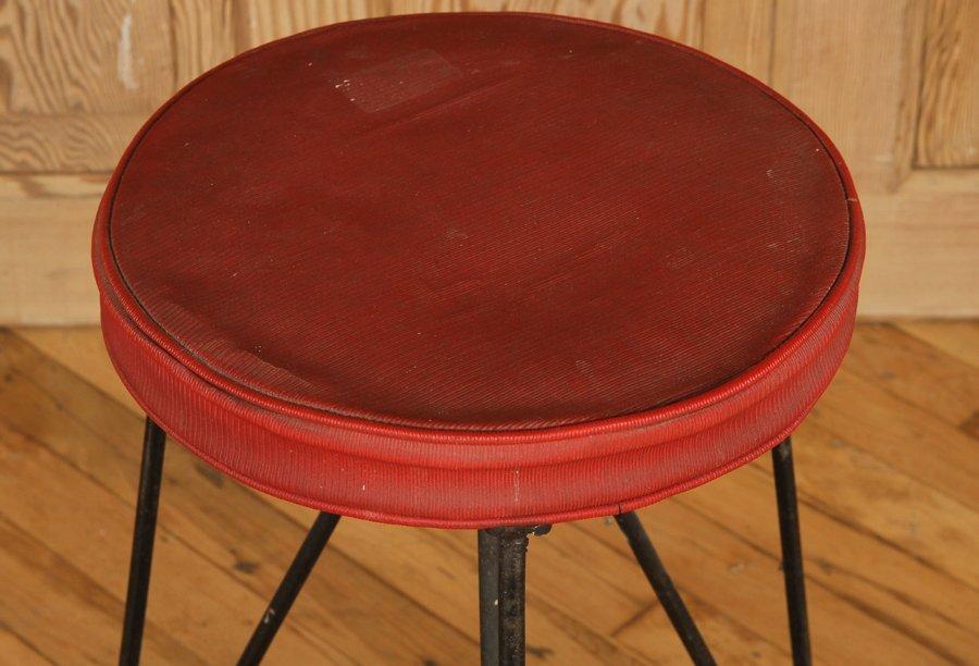 4 MID CENTURY IRON STOOLS UPHOLSTERED SEATS C1950 - 3