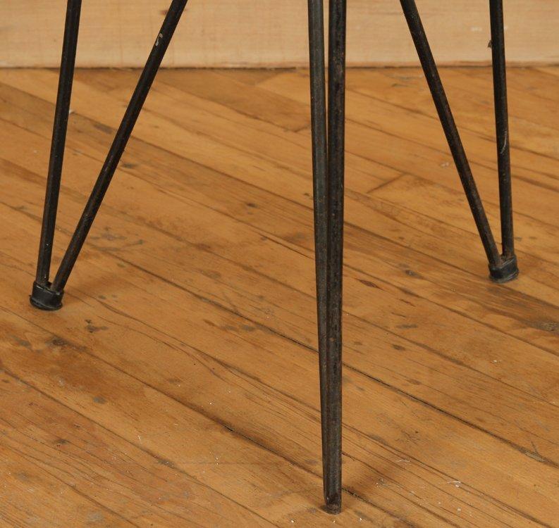 4 MID CENTURY IRON STOOLS UPHOLSTERED SEATS C1950 - 4