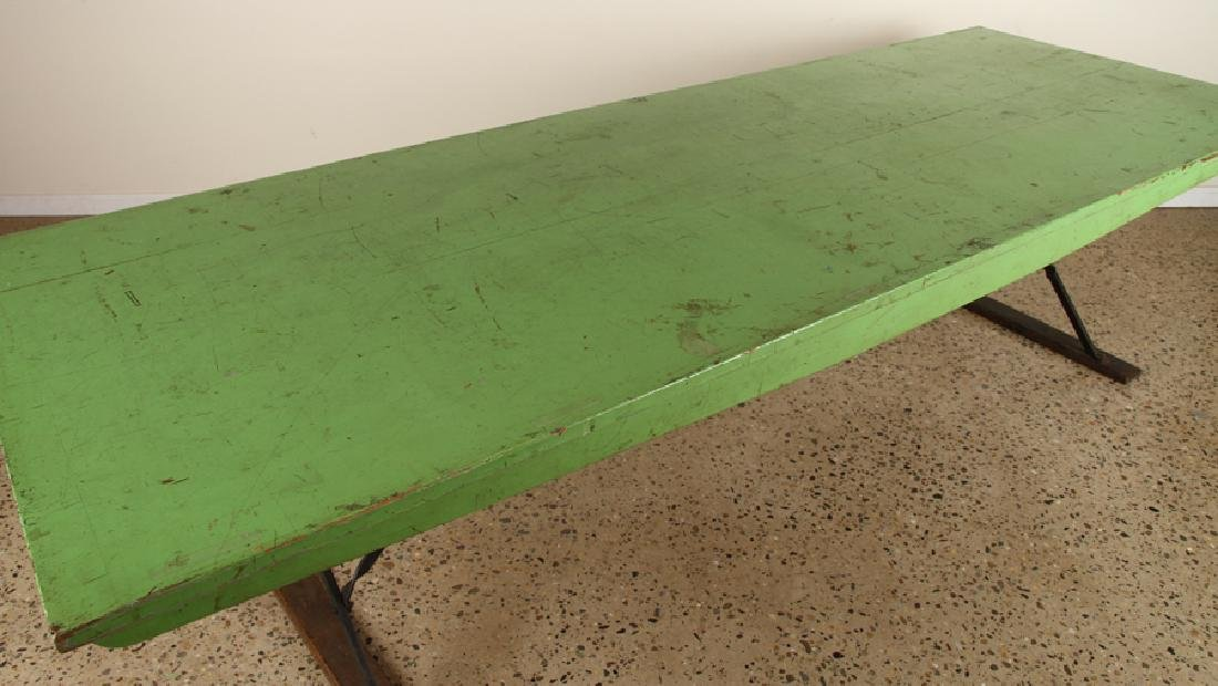INTERESTING WOOD IRON PICNIC TABLE CIRCA 1940 - 3