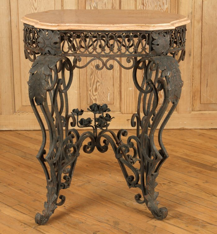 IRON AND MARBLE TABLE WITH SHAPED TOP