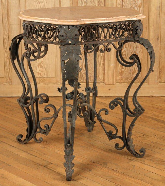IRON AND MARBLE TABLE WITH SHAPED TOP - 2