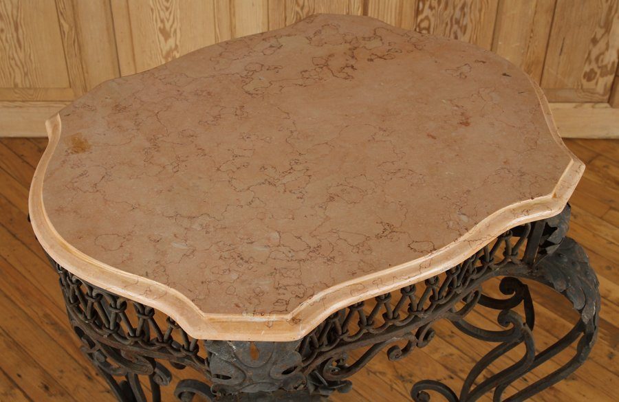 IRON AND MARBLE TABLE WITH SHAPED TOP - 3