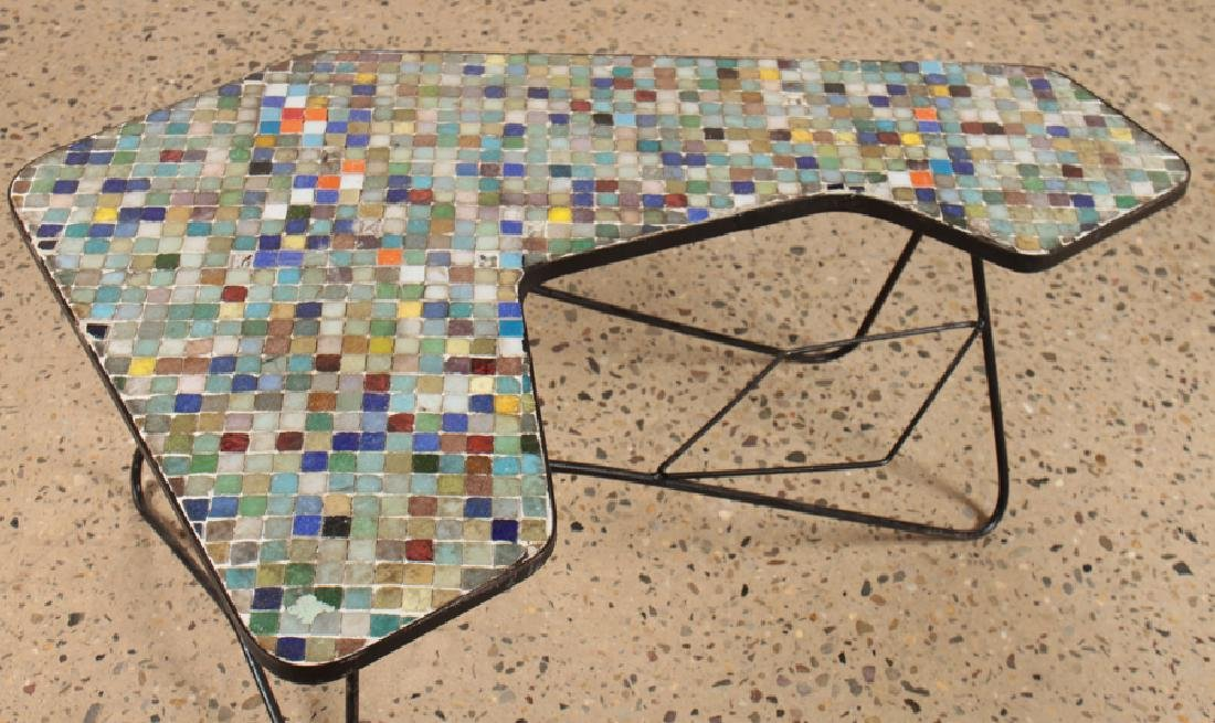 IRON COFFEE TABLE MULTICOLORED GLASS TILE TOP - 3