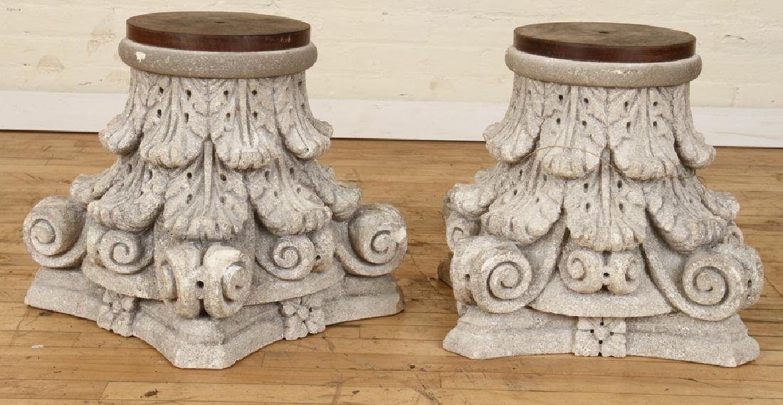 PAIR CARVED STONE CAPITALS FLORAL DECORATION
