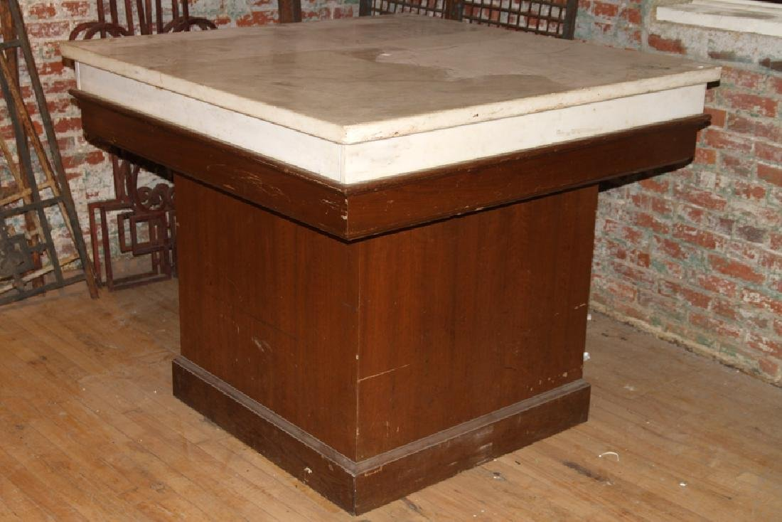 ARTS AND CRAFTS STYLE MARBLE TOP TABLE