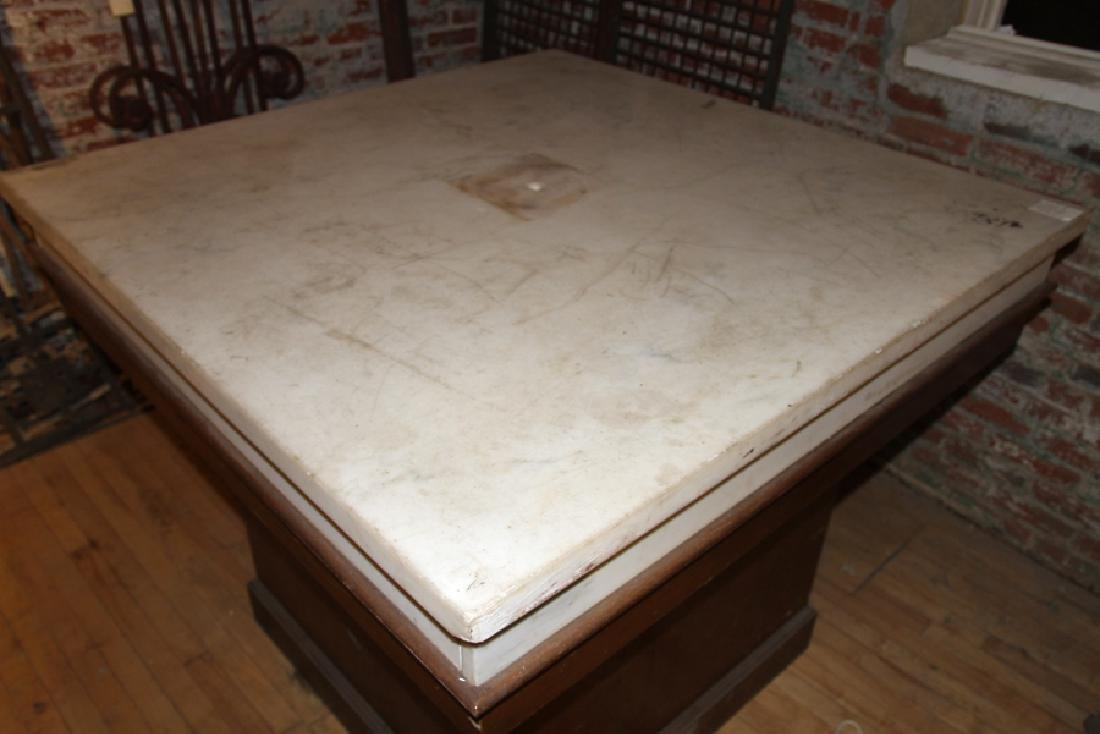 ARTS AND CRAFTS STYLE MARBLE TOP TABLE - 2