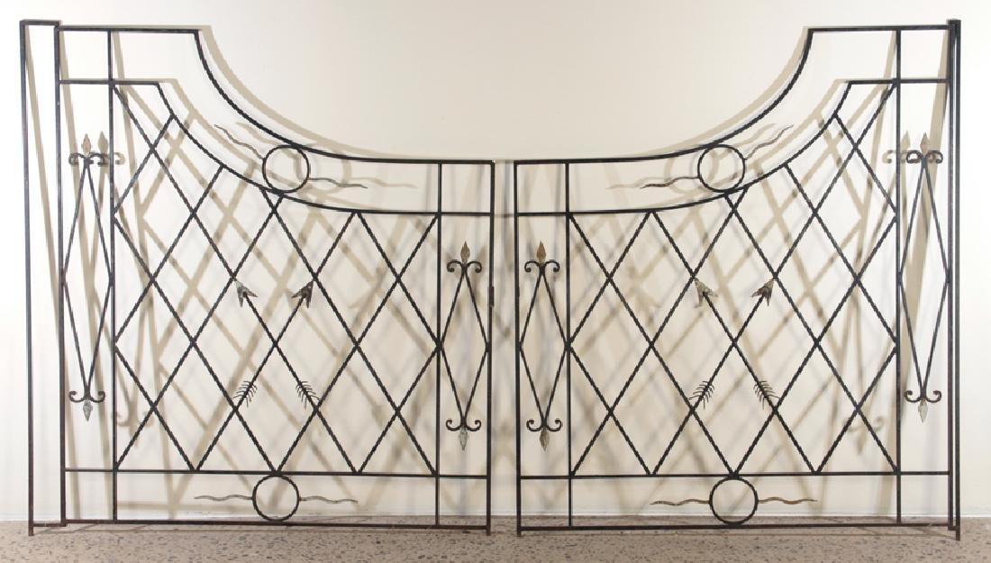 PAIR FRENCH IRON GATES ARROW MOTIF CIRCA 1950