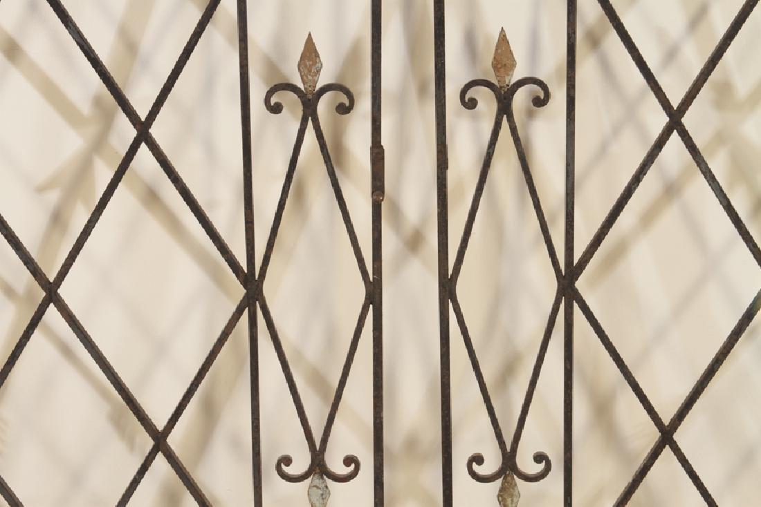 PAIR FRENCH IRON GATES ARROW MOTIF CIRCA 1950 - 3