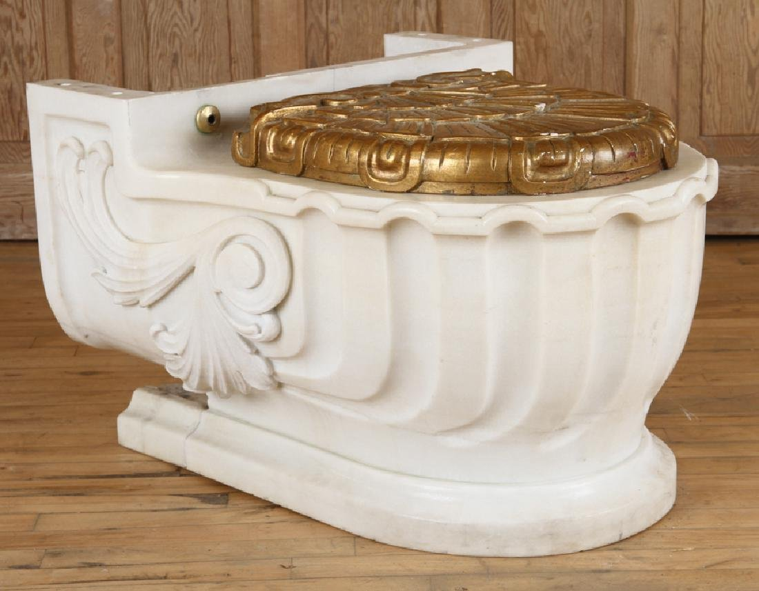 SHERLE WAGNER ITALIAN CARVED MARBLE TOILET