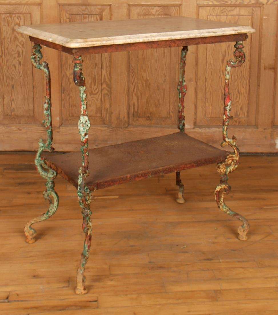 TWO TIER CAST IRON MARBLE TOP GARDEN TABLE C.1900