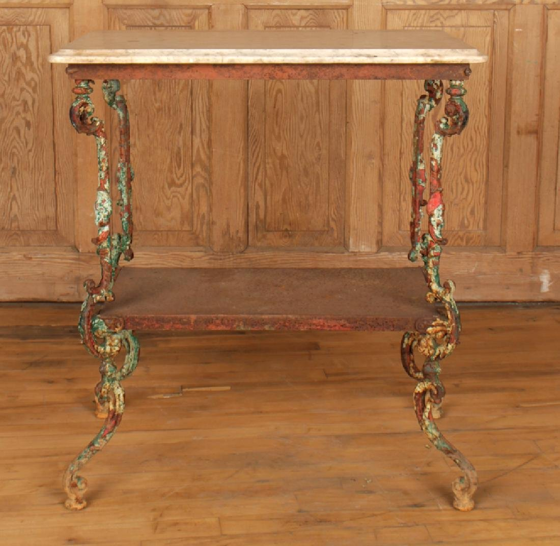 TWO TIER CAST IRON MARBLE TOP GARDEN TABLE C.1900 - 2