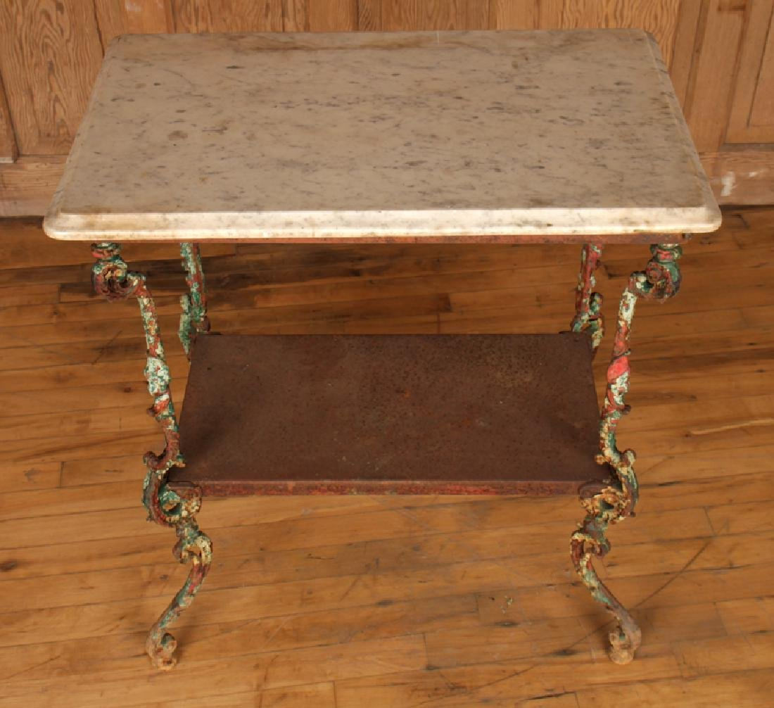 TWO TIER CAST IRON MARBLE TOP GARDEN TABLE C.1900 - 3