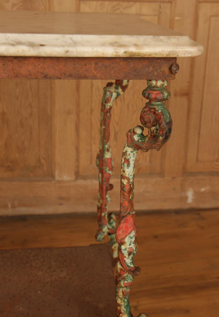 TWO TIER CAST IRON MARBLE TOP GARDEN TABLE C.1900 - 4