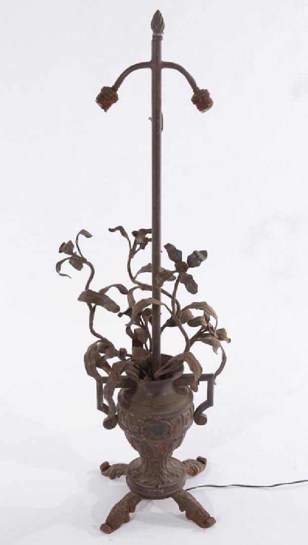WROUGHT IRON TABLE LAMP ORNATE URN WITH HANDLES