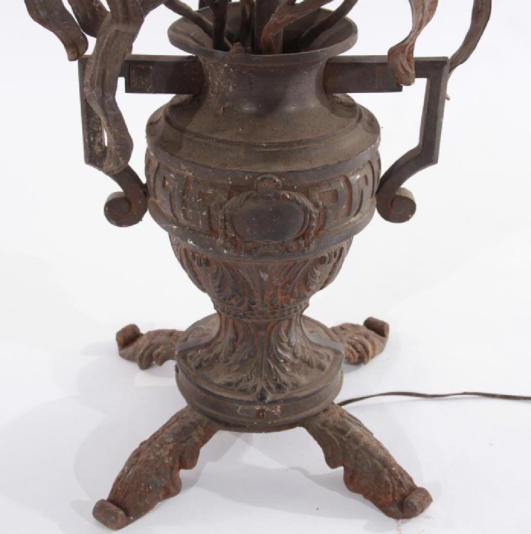 WROUGHT IRON TABLE LAMP ORNATE URN WITH HANDLES - 5
