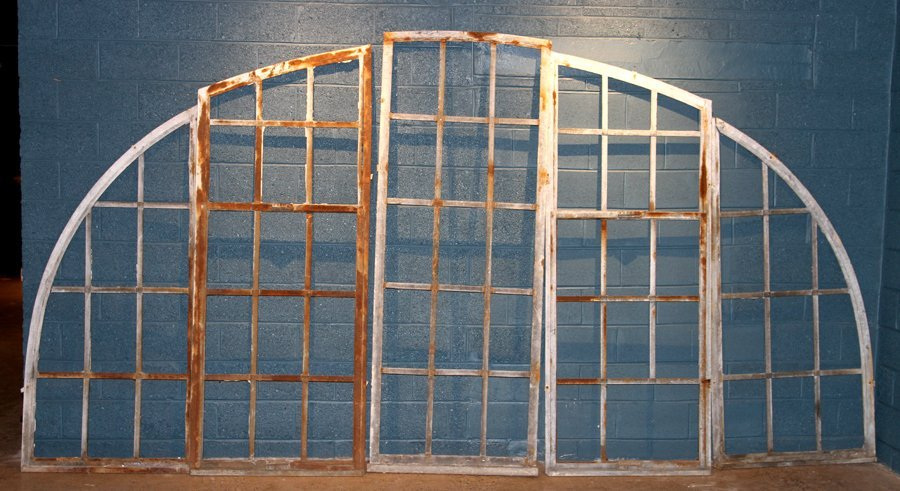 5 PART GALVANIZED IRON ARCHED TOP WINDOW C.1910