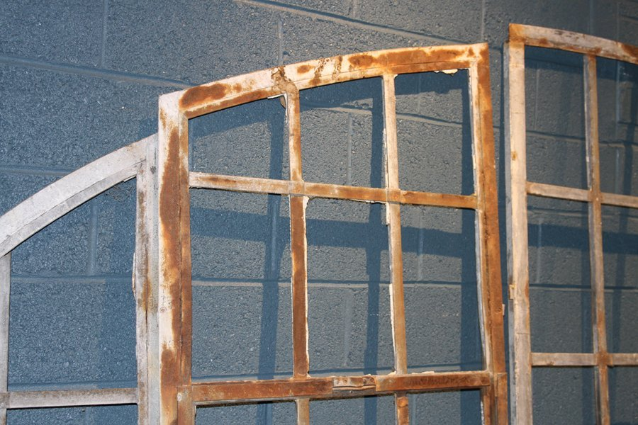5 PART GALVANIZED IRON ARCHED TOP WINDOW C.1910 - 2