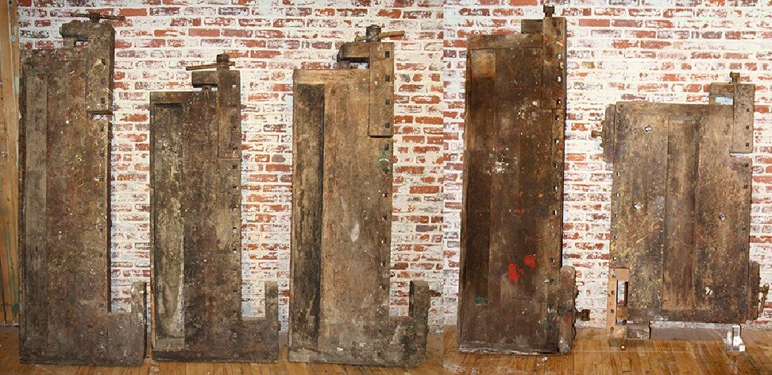 FIVE ANTIQUE WORK BENCH TOPS IRON HARDWARE