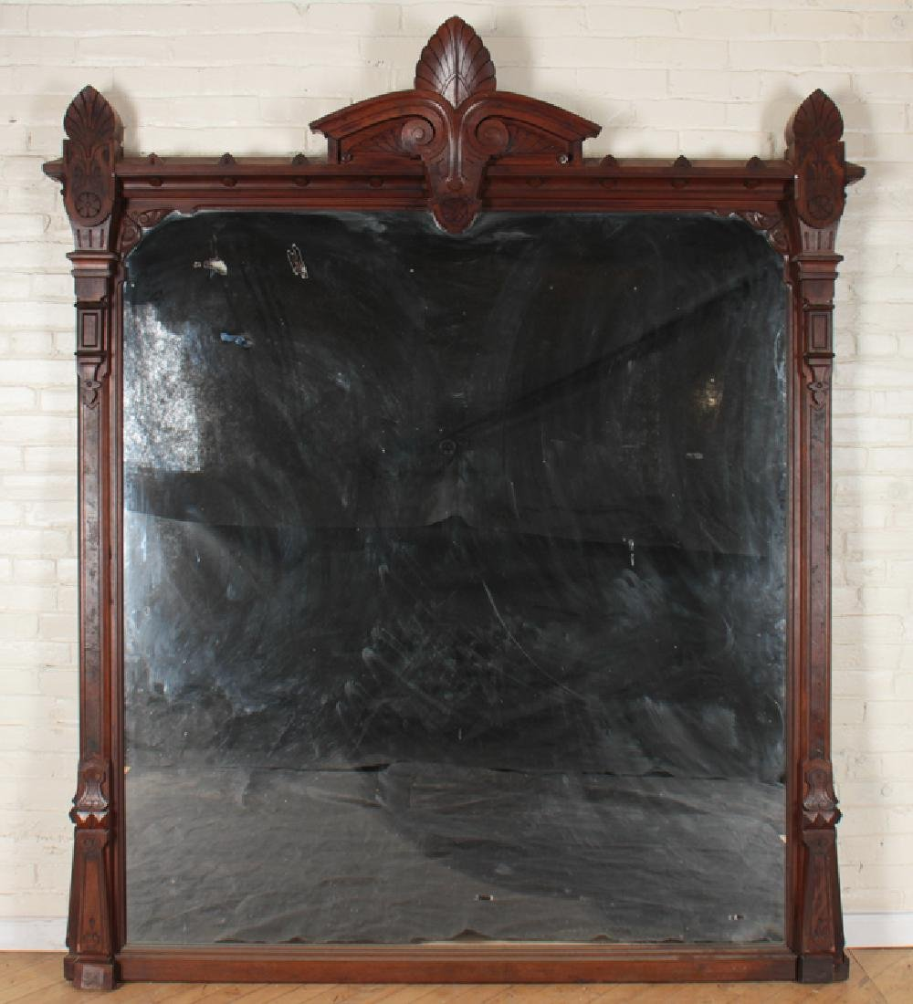 PABST MODERN GOTHIC WALNUT OVER MANTLE MIRROR