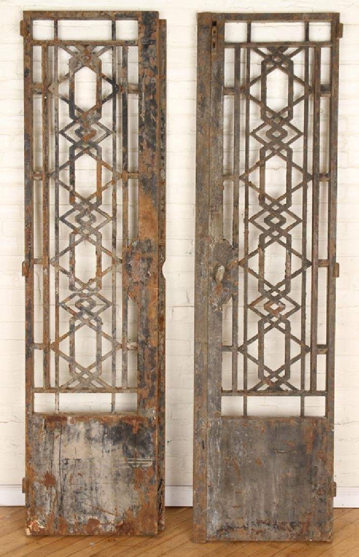 PAIR CAST IRON GEOMETRIC FORM GATES C.1900