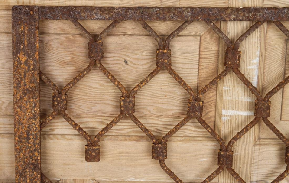 THREE WROUGHT IRON PANELS DIAMOND MOTIF C.1900 - 4