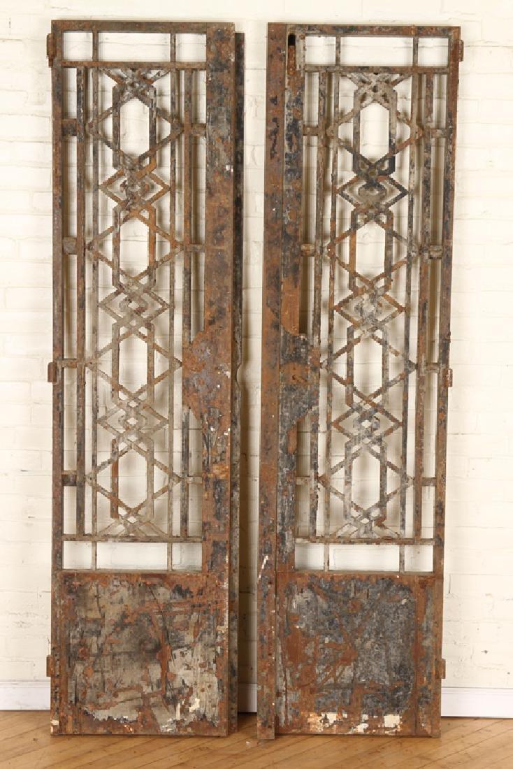PAIR CAST IRON GEOMETRIC FORM GATES C.1900