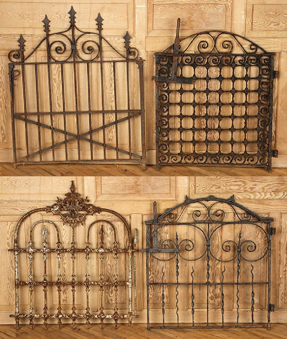FOUR ANTIQUE WROUGHT IRON GARDEN GATES C1880-1920