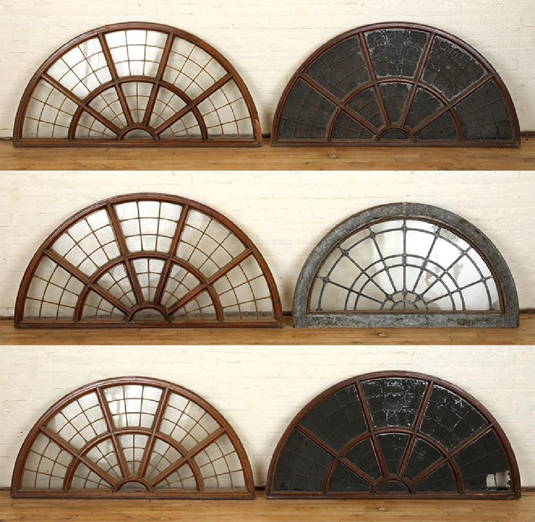 SET 6 LATE 19TH C. LEADED GLASS ARCHED TRANSOMES