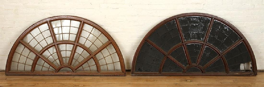 SET 6 LATE 19TH C. LEADED GLASS ARCHED TRANSOMES - 2