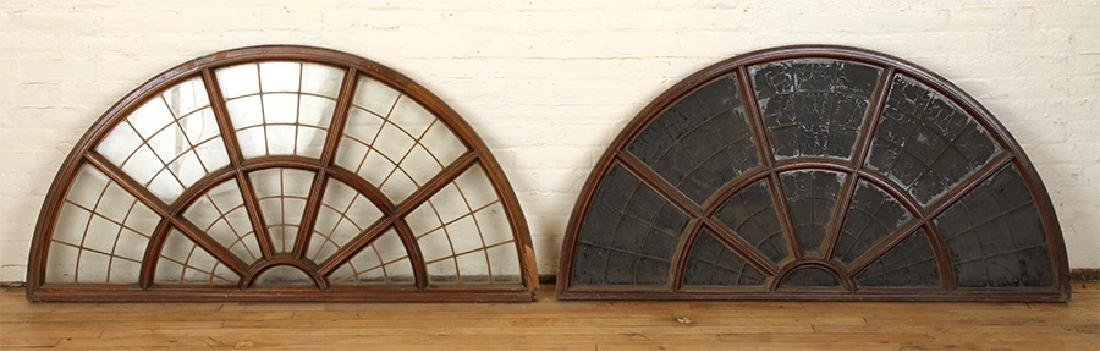 SET 6 LATE 19TH C. LEADED GLASS ARCHED TRANSOMES - 3