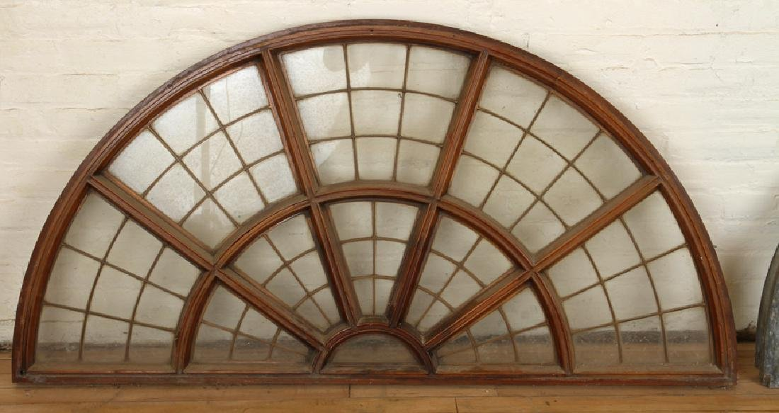 SET 6 LATE 19TH C. LEADED GLASS ARCHED TRANSOMES - 5