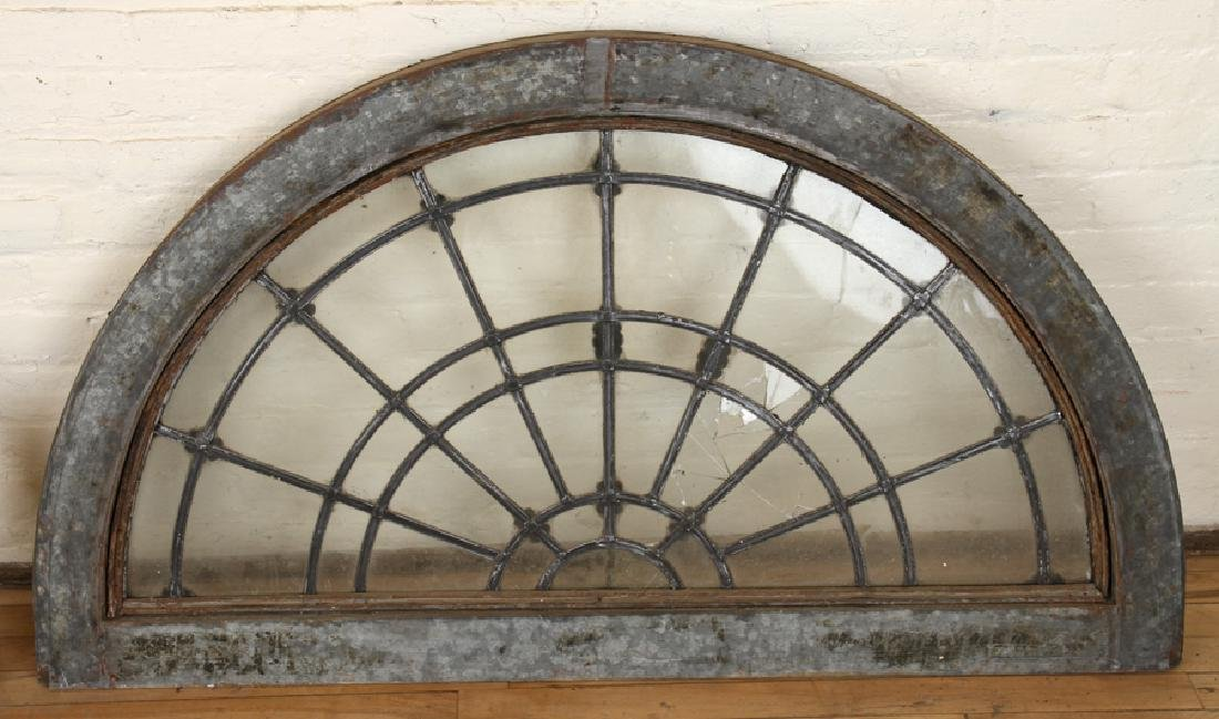 SET 6 LATE 19TH C. LEADED GLASS ARCHED TRANSOMES - 7