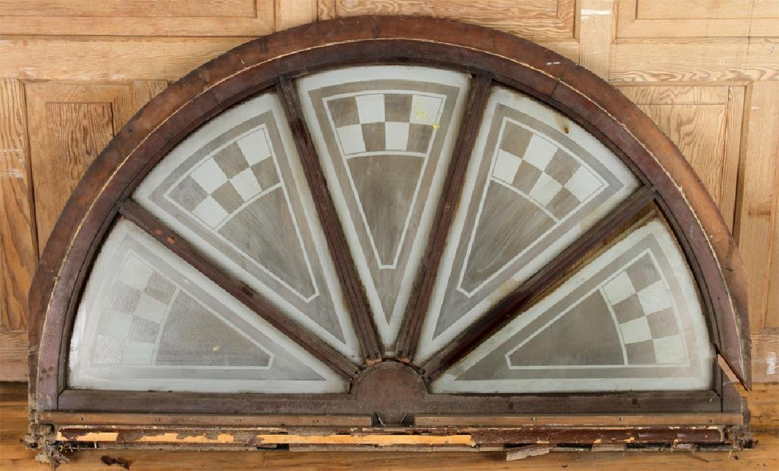 LARGE WOOD TRANSOM ETCHED GLASS CIRCA 1900