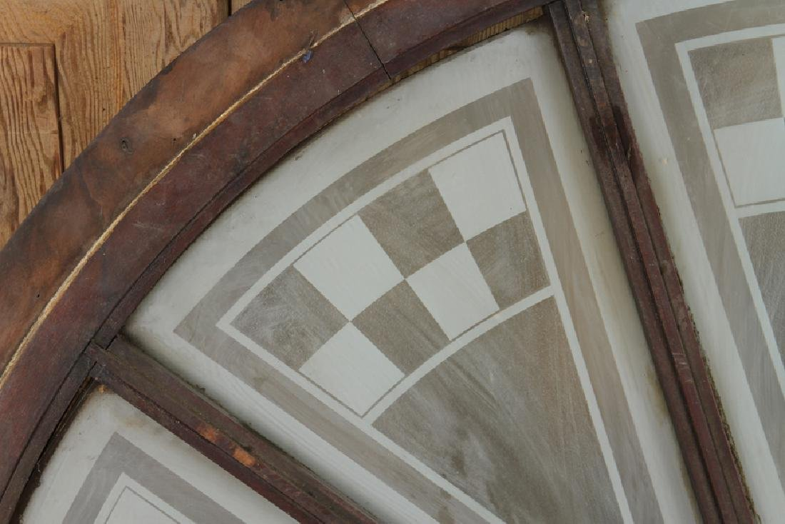 LARGE WOOD TRANSOM ETCHED GLASS CIRCA 1900 - 2
