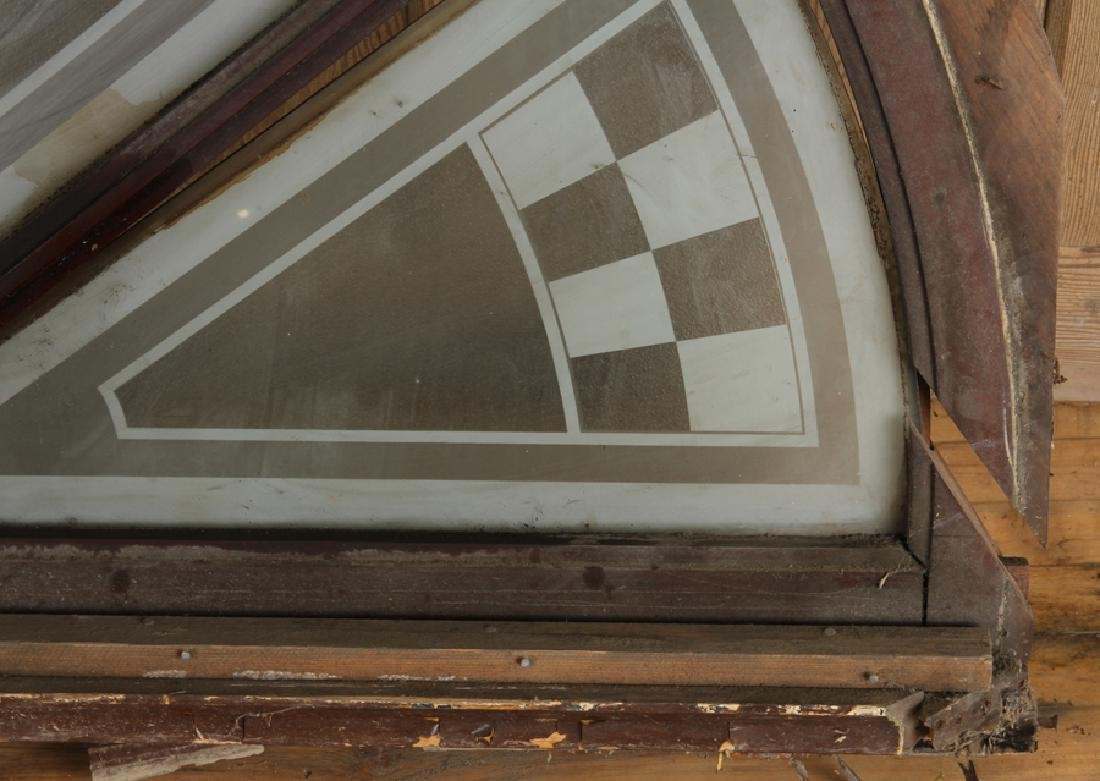 LARGE WOOD TRANSOM ETCHED GLASS CIRCA 1900 - 4