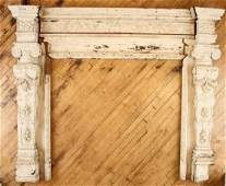 RELIEF CARVED OAK FIRE PLACE MANTLE CIRCA 1900