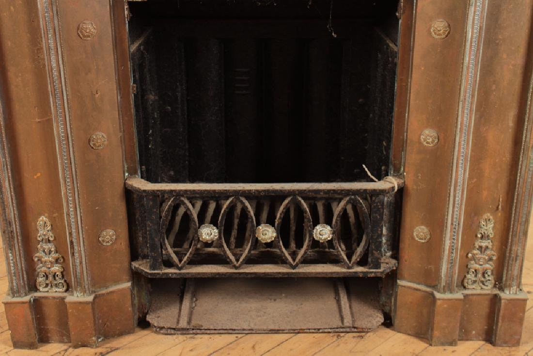 BRONZE AND IRON FIRE PLACE INSERT - 3