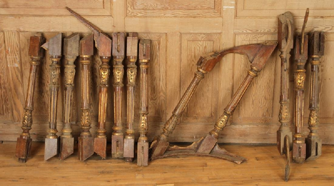 MAHOGANY AND GILT CARVED STAIRCASE - 7