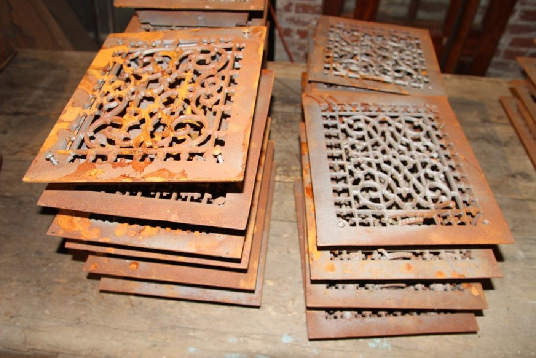 COLLECTION OF 22 ANTIQUE CAST IRON HEAT REGISTERS - 3