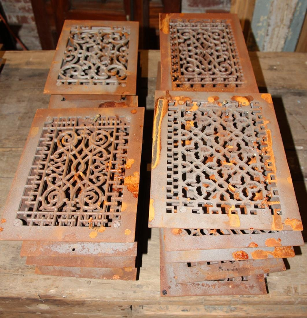 COLLECTION OF 18 ANTIQUE CAST IRON HEAT REGISTERS - 4