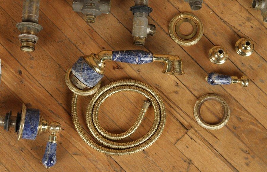 BRASS BLUE GRANITE HARDWARE BY ROHL & NICOLAZZI - 3