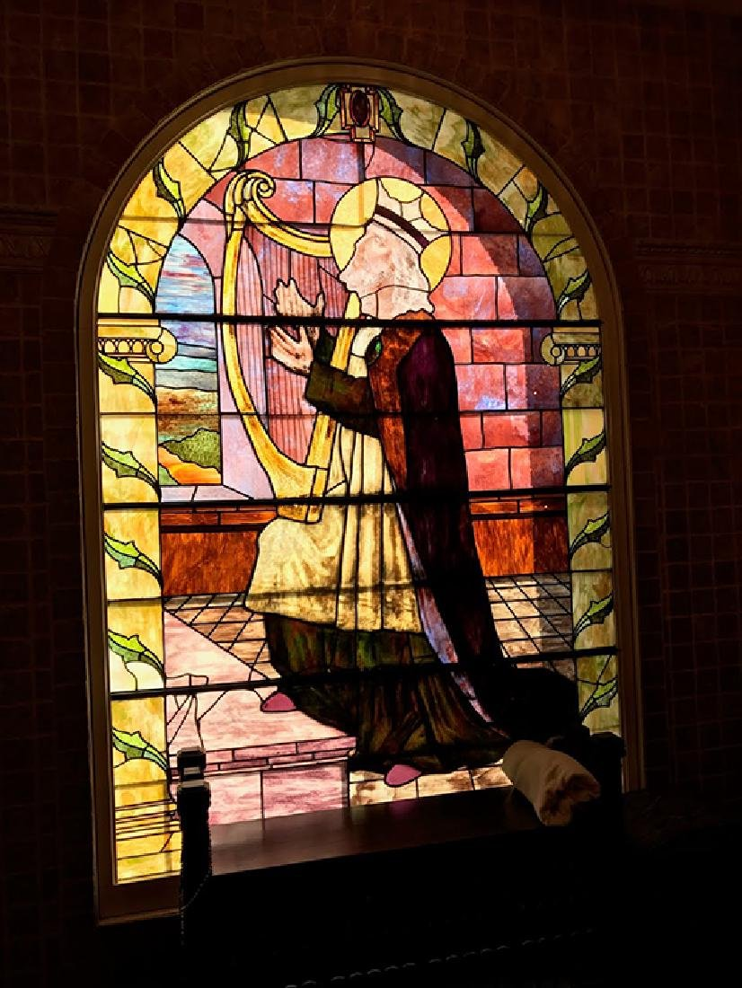 ARCHED TOP LEADED STAINED GLASS WINDOW C.1890